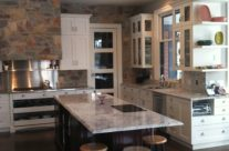 Painted Shaker Kitchen with Stained Island